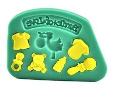 Bundle of Love Baby Things 8 cav Silicone Mold for Fondant Chocolate Crafts, etc