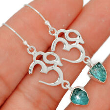 Om - Neon Blue Apatite 925 Sterling Silver Earring Jewelry BE21800