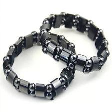 1PC schwarze Armband mit magnetische Hämatit Kügelchen elastisch Korn Armspange