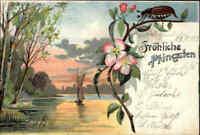 Fest Gruss Karte PFINGSTEN Litho-AK mit Maikäfer Landschaft See 1903 frankiert