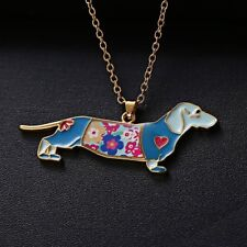 New Colorful Rainbow Printing Dachshund Dog Pendant Necklace Women Jewelry Gift