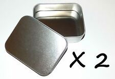 2 X 4-oz Rectangular Slip Lid Survival Metal Tin Can Container Box Kit Craft Use
