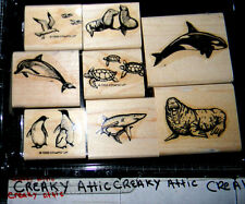 STAMPIN UP SEA LIFE 8 RUBBER STAMPS WHALE DOPHIN WALRUS SEAL