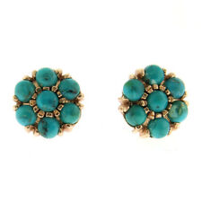 Pair of 14k Rose Gold and Turquoise Stud Earrings