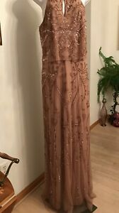 Adrianna Papell Platinum Rose Gold Gown - Size 12