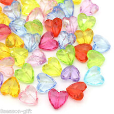 100PCs Gift Acrylic Spacer Beads Transparent Love Heart Mixed 12mmx12mm