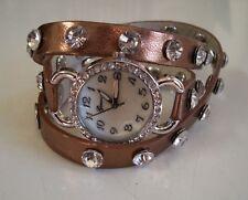 Bronze/Silver Wrap Around Sparkly Rhinestones Fashion Women's/Girl's Watch