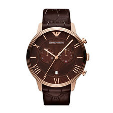 Emporio Armani AR1616 brown  Strap wine Dial Chronograph Wrist Watch for Mens