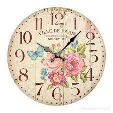 Küchenuhr Landhausstil Wanduhr Holz Blumen Frühling Motiv Uhr Nostalgie Stil Uhr