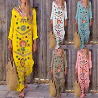 Women Boho Casual Long Sleeve Cotton Linen Maxi Dress Floral  Long Dresses