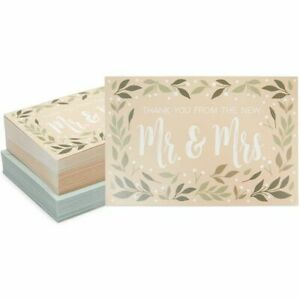 Rustic Wedding Thank You Cards with Envelopes (4 x 6 Inches, 48 Pack)