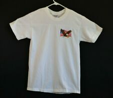 Hanes Beefy T-Shirt Adult Size Small Embroidered American Flag Eagle Vintage