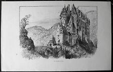 BURG ELTZ, Wierschem. Originale Lithographie von ROBIDA, ca. 1890