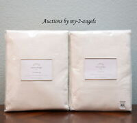S/2 NEW Pottery Barn EMERY LINEN COTTON CURTAINS Drapes Panels 50x84 IVORY lined