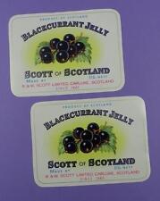 R & W Scott, Carluke, Scotland - Blackcurrant Jelly Original Old Jam Jar Label