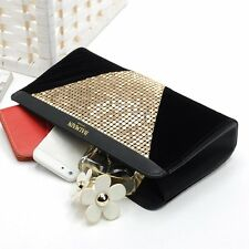 Women Clutch Silver Sequin Handbag Party Evening Wedding Bridal Bag Button Purse
