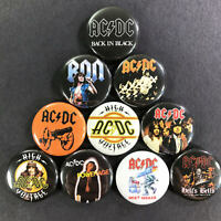 "AC/DC 1"" Button Pin Set Angus Young Hard Classic Rock n' Roll Back In Black"