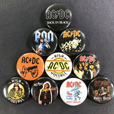 """AC/DC 1"""" Button Pin Set Angus Young Hard Classic Rock n' Roll Back In Black"""