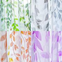 Modern Willow Leaves Sheer Net Curtain Tulle Voile Drape 1 Panel Balcony Decor