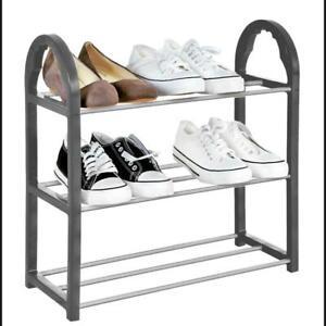 3 Tier SHOE RACK Stand Storage Organiser Compact SPACE SAVE Shelf Grey
