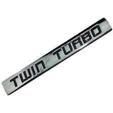 CHROME/BLACK METAL TWIN TURBO ENGINE MOTOR SWAP EMBLEM BADGE FOR HOOD DOOR  B