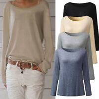 Mode Femmes Chemisier à manches longues à col en V pour Dames Pull T-shirt hauts