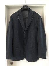 GANT DENIM Uomo Blu Scuro Cotone Lino Giacca Blazer-Taglia 54-UK 44-XL
