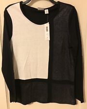 Weekends by Chico's black and silver Extrodinary Grid knit top Size 0 cotton