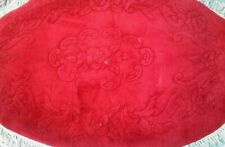 Brand New Hand Made Chinese 100% Wool Rug OVAL 5X3FT RED CARVED PATERN
