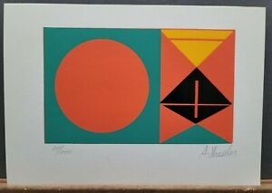 """A. Shessler Signed & Numbered Serigraph Abstract Geometric #24/200 7""""×10"""" 1970s"""