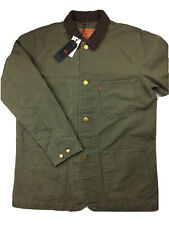 Levis Engineers Coat Mens Large Green Jacket Chore Work Canvas Brown Collar NWT