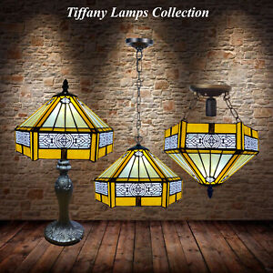 """Tiffany Lamp Shade Yellow Hexagon Style 10"""" Stained Glass Table/Pendant/Ceiling"""