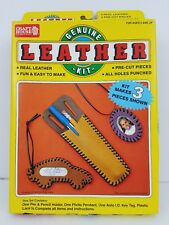 New Vtg Craft House Genuine Leather Kit Precut Fun & Easy for Kids #561