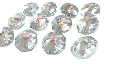 100 SILVER Octagons 14mm Chandelier Crystals Faceted Prisms 2 Holes