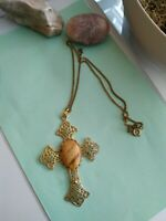 Vintage goldtone cross necklace