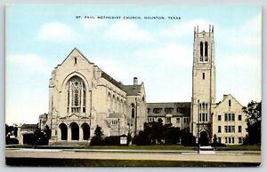 Houston Texas~St Paul Methodist Church Building~Vintage Postcard