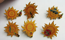 Lot of 6 different Coca-Cola Sun Pins, 1994 collectible advertising, very good
