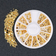 1 Wheel NEW Gold Nail Art Glitter 3D Stones DIY Design Nail Art Decoration CA