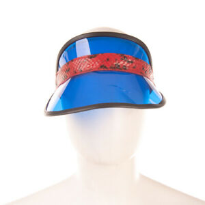 RRP€155 RAG & BONE Visor Cap One Size Leather Trim Snakeskin Pattern Transparent