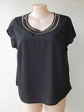 Moda size 16 lovely black beaded top NWOT New short sleeves