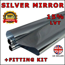 6M x 75cm SILVER CHROME MIRROR 15% (2xROLL 3M) CAR WINDOW TINT FILM TINTING