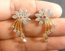 Gold Plated Indian Cubic Zirconia AD Weeding Party Earrings Jhumki Set b