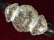 GREAT BUCKLE BELT OF THREE PARTS. SILVER HAND CHISELLED. INDIA. XIX-XX
