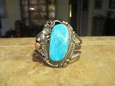FINE Wide Vintage Navajo Sterling Silver PREMIUM Turquoise Leaf DESIGN Bracelet