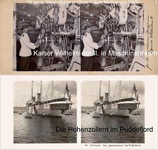 deutsche Schiffe, Hohenzollern, Barbarossa, Kaiser Wilhelm,18 Stereofotos Lot 1