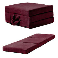 Plum Linen Effect Single Chair Z Bed Folding Futon Fold Out Foam Guest Mattress