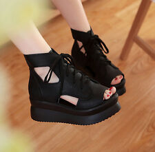 Women Platform Wedge Heel Lace Up Fashion Ankle Shoes Peep Toe Hollow Out Sandal