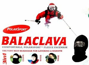 POLARSPORT Unisex Adult FLEECE BALACLAVA Hat Mask Clava Hood SKIING Layer BLACK
