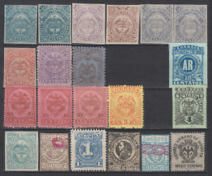 Colombia Tolima scarce stamp types with many early Imperforated values mnh look