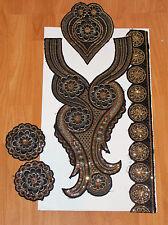 Negro Dorado Boho étnico bordado de encaje y apliques Parche Motivo Abaya kameeze asiático